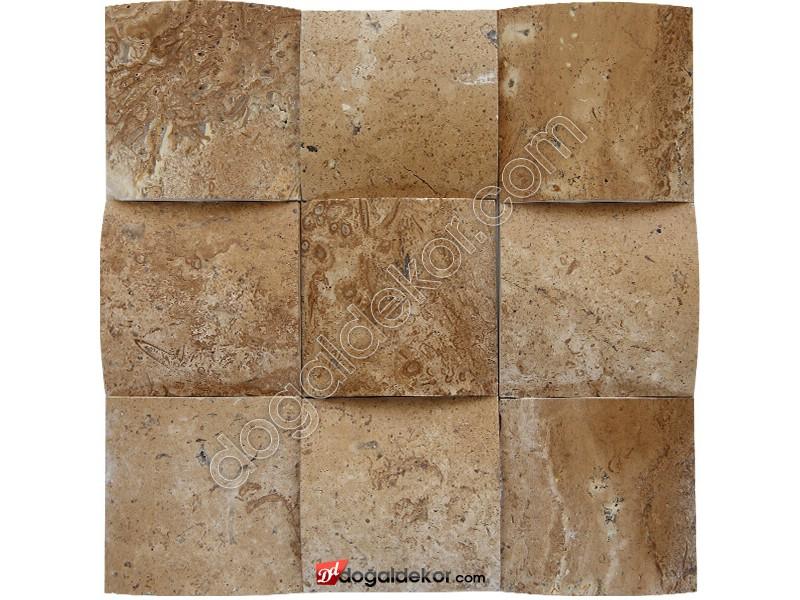 10x10 Noce Traverten Konkav Duvar Dekor Taşları -DT1393