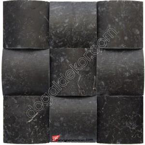 Mermer Duvar Dekor Taşları Siyah Konkav  10x10 -DT1394
