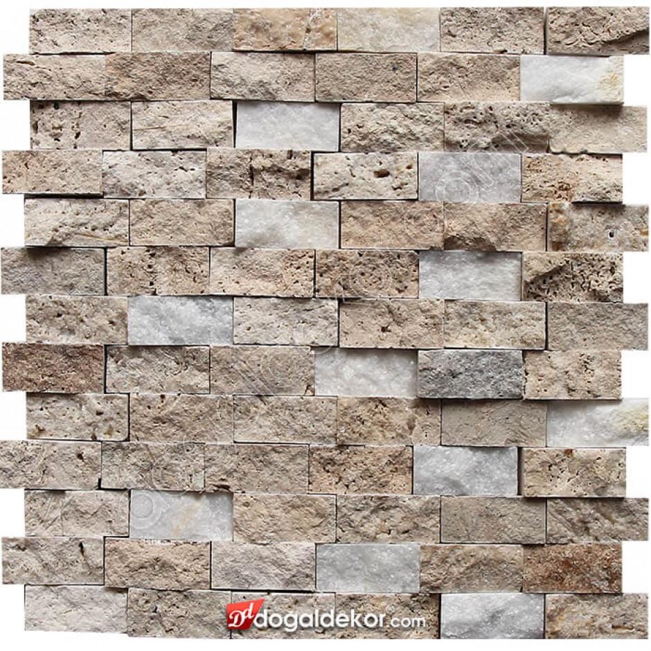 23x48 Traverten Patlatma Duvar Kaplama Doğal Taş - DT1418