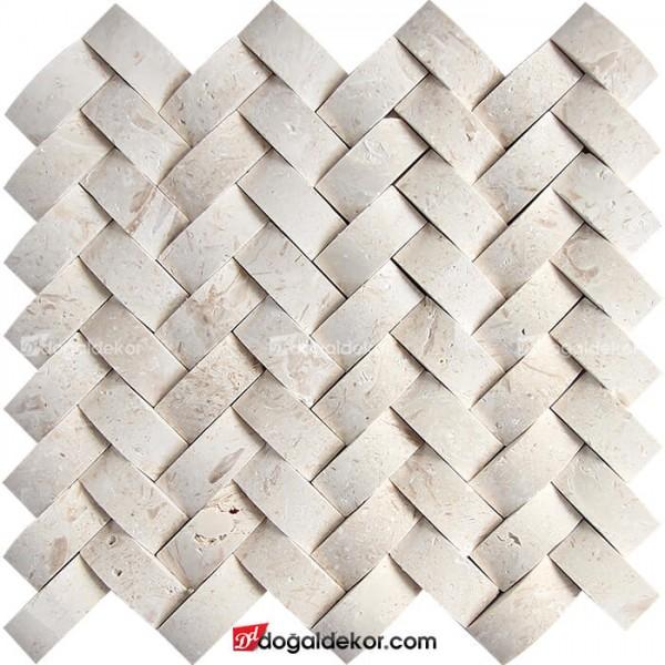 Doğal Taş Hasır Mozaik Sepet Taş Duvar Kaplama Limra-DT1439