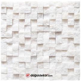 Patlatma Doğal Taş Simli Beyaz Dekoratif  Duvar Kaplama 23x23mm - DT1568