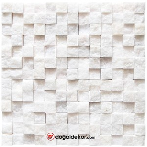 23x23mm Simli Beyaz Dekoratif Patlatma Doğal Taş Duvar Kaplama - DT1568