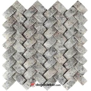 Doğal Taş Hasır Mozaik Sepet Taş Duvar Kaplama Gümüş-DT1581