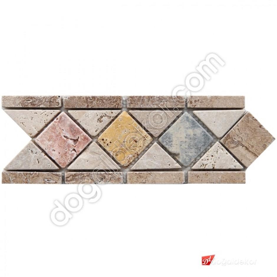 Bordür Dekoratif Mermer Traverten Renkli Mozaik Eskitme -DT1353