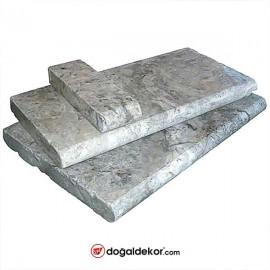 5x33x61cm Kalın Gümüş Traverten Harpuşta Bullnose-DT1382