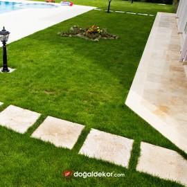 Traverten Bahçe Adım Taşları - Bahçe Yürüme Yolu 4x40x40cm -DT1049
