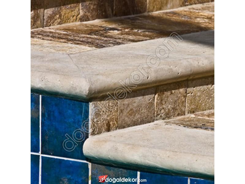 5x33x61cm Kalın Denizli Traverten Harpuşta Bullnose-DT1384