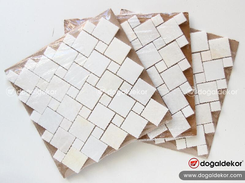 Tezgah arasi beyaz mermer mozaik