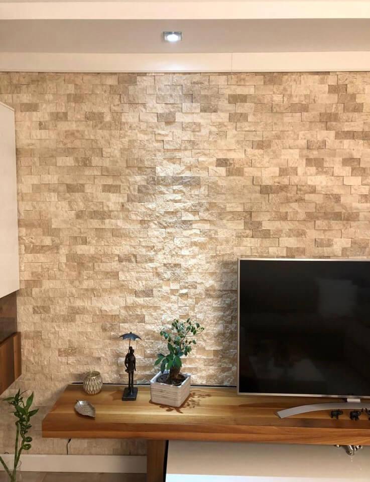 Tv Ünite arkası doğal taş kaplama